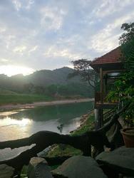 Beautiful sunrise in the mountains. Dalat, Vietnam.