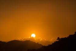 beautiful sunrise in the mountains of niteroi brazil