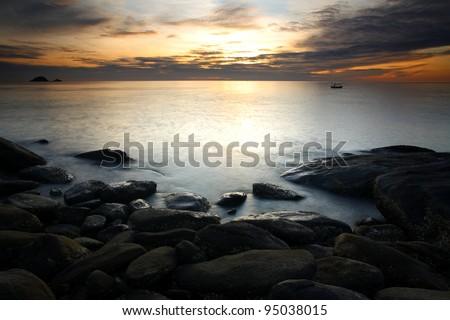 Beautiful sunrise in the sea at Thumkaotao Hua Hin, Prachuap Khiri Khan, Thailand.