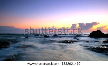 Beautiful sunrise of the beach in Peninsula of Malaysia #1332621497