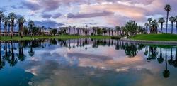 Beautiful sunrise on a golf course in Palm Desert California.
