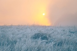 Beautiful sunrise over foggy autumn meadow with hoar frost on the grass. Sun disk rising up over the trees. October dawn.