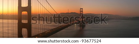 Beautiful sunrise over Golden Gate Bridge, San Francisco, California