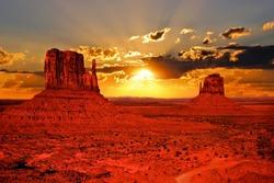 Beautiful sunrise over iconic Monument Valley, Arizona, USA