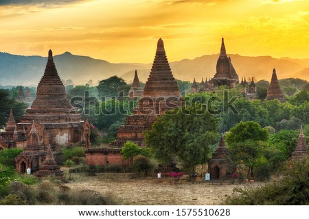 Beautiful sunrise over old pagodas of an ancient city of Bagan, Myanmar Сток-фото ©