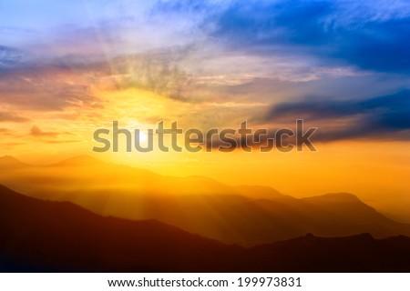 Beautiful Sunrise over The Himalayas, Nepal