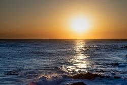 Beautiful sunrise over the ocean. South Korea at the sunrise of the East Sea sea.