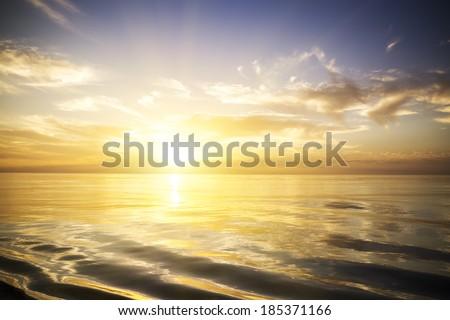 Beautiful sunrise over the sea. Calm. #185371166
