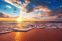 Beautiful sunrise over the tropical sea.
