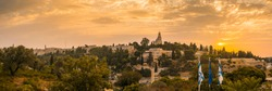 Beautiful sunrise panorama of Mount Zion: Dormition Abbey, Jerusalem university college and greek ceminary; with walls of Jerusalem's Old City, leading up to the Tower of David and Jaffa Gate