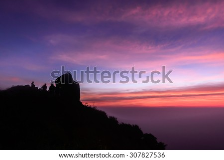 Beautiful sunrise scene at Peak of Mokoju mountain at sunset, Kamphaeng Phet, Thailand. #307827536