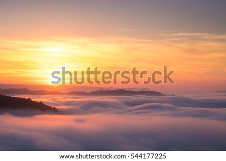 Beautiful sunrise view and sea of clouds from Phuhuayesan in Nong khai provience, Thailand. #544177225