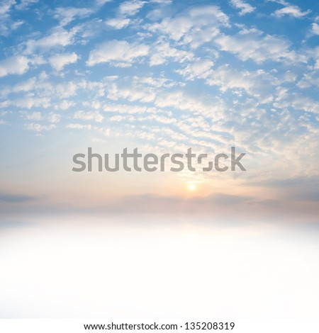 Beautiful sunrise with clouds and sun reflection in water with place for your text #135208319