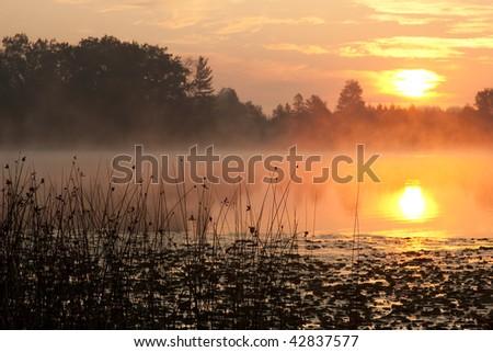 Beautiful Sunrise with Reflection on Lake