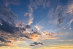 Beautiful sunset above the evening cloud