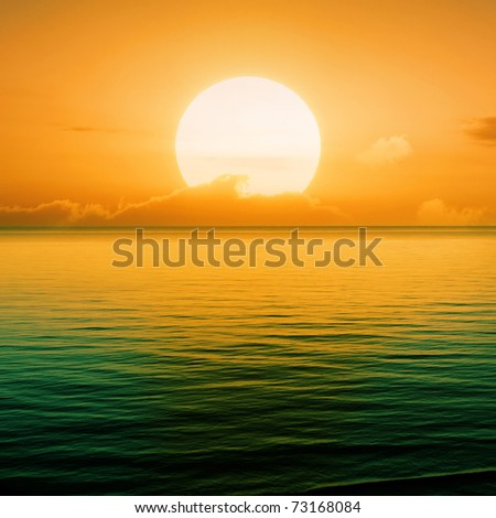 Beautiful sunset above the sea #73168084