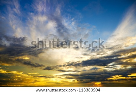 Beautiful sunset above the sea. Nature composition.