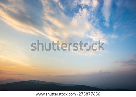 Beautiful sunset and evening sky with clouds for background. #275877656