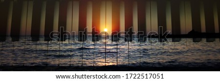 Beautiful Sunset and piano keyboard in Greek island on summer holidays. love couple tenderness scenery, exotic destination Mediterranean meditation. romantic togetherness calm vacation travel yoga Photo stock ©