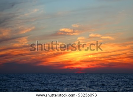 Beautiful sunset and the sea