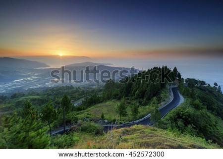 beautiful sunset and view Lake Toba, North Sumatra #452572300