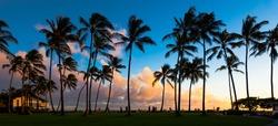 Beautiful sunset at a tropical beach in Kauai, Hawaii Islands.