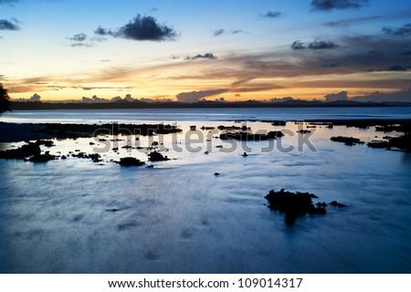 Beautiful sunset at Cloud 9, Siargao island , Philippines. Long exposure