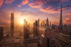 Beautiful sunset at Dubai Downtown