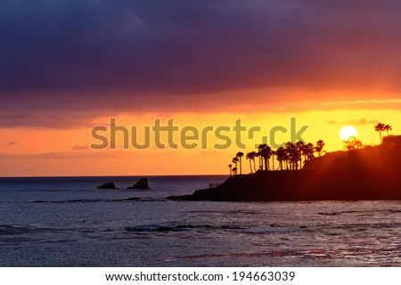 Stock Photo Beautiful Sunset at Laguna Beach, California.