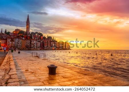 Beautiful sunset at Rovinj in Adriatic sea coast of Croatia, Europe. This image make HDR technique #264052472