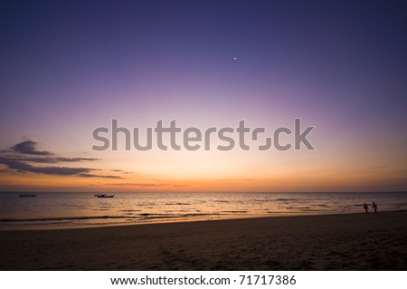 beautiful sunset at the Andaman Sea in Thailand