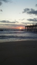 Beautiful Sunset at the Avalon Pier in Kill Devil Hills, North Carolina Outer Banks