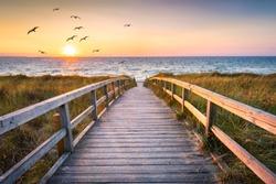 Beautiful sunset at the dune beach, North Sea, Germany
