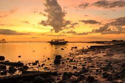 Beautiful Sunset at the Port of Negros Occidental,Philippines.