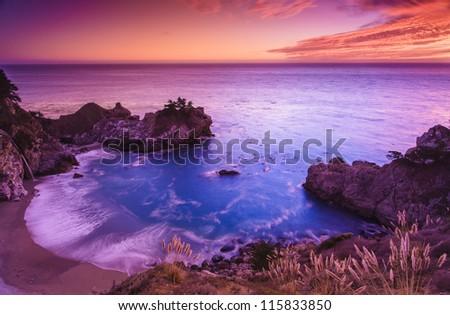 Beautiful sunset at the shore of California