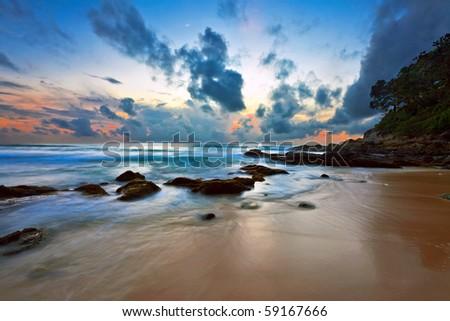 Beautiful sunset at tropical beach. Thailand