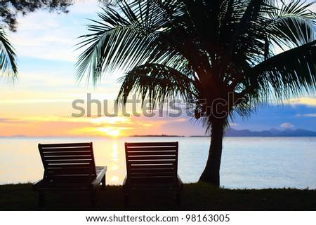 Beautiful sunset at tropical island resort