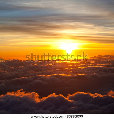 Beautiful sunset cloud and sky - stock photo