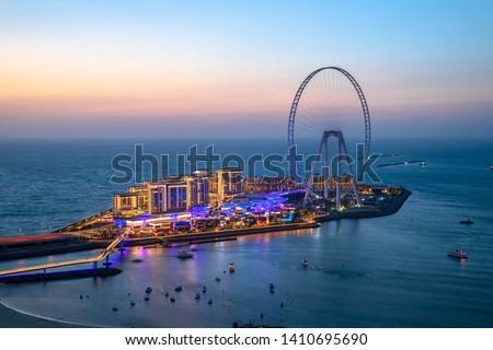 Beautiful sunset from Jumeirah Beach Residence overlooking Bluewaters Dubai