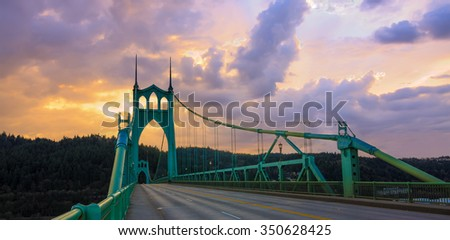 Beautiful Sunset Image of Saint John's Bridge in Portland, Oregon #350628425