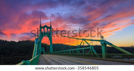 Beautiful Sunset Image of Saint John's Bridge in Portland, Oregon #358546805