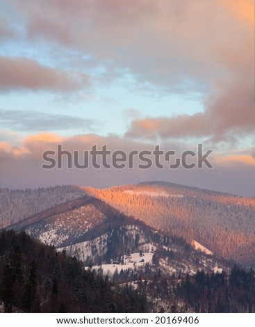 Beautiful sunset in Carpathian  mountain