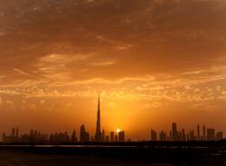 Beautiful sunset in Dubai