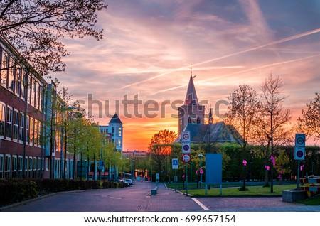 Beautiful sunset in Ede, Gelderland, Netherlands