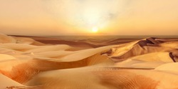 Beautiful Sunset in hot desert with dunes Sahara Dubai Africa or Gobi