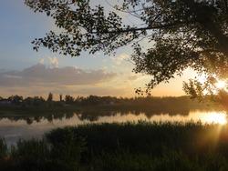 Beautiful sunset in Komsomol lake