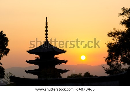 beautiful sunset in Kyoto, japan