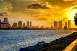 Beautiful sunset in Miami Beach