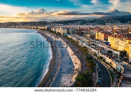 Beautiful sunset in Nice, France #774836284