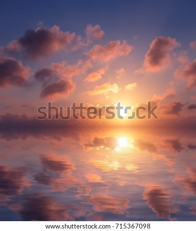 Beautiful sunset in pastel colors over the sea. Sunset natural composition. #715367098